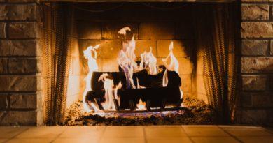 Stone fireplace heating home